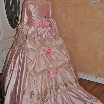 Phantom of the Opera style Marie Antoinette Gown with Bustle and Flowers Custom