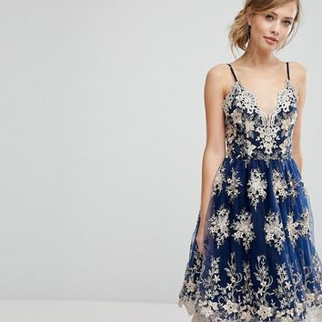 Chi Chi London Premium Scalloped Metallic Lace Midi Dress at asos.com