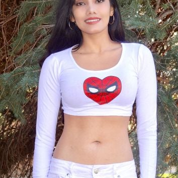 I Love Spiderman White Long Sleeve Crop Top
