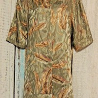 Maggie Barnes Size 28 Shirt Blouse Gold Feathers