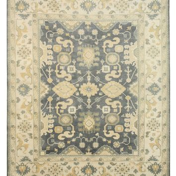 EORC Hand-knotted Wool Blue Traditional Oriental Oushak Rug