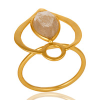 18K Gold Plated Sterling Silver Yellow Rutile Art Deco Statement Ring