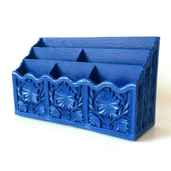 Office Desk Organizer Mail Holder Sorter Pen Pencil Storage Business Card Rack Letter Display Blue Home Decor Painted Furniture Vintage Navy