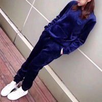 """Gucci"" Women Casual Fashion Velvet Embroidery Logo Letter Long Sleeve Sweater Trousers Set Two-Piece Sportswear"