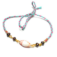 Anklet friendship bracelet braided mint pink floss gold wire wrapped pearls african glass bead indie hippie hipster free people inspired