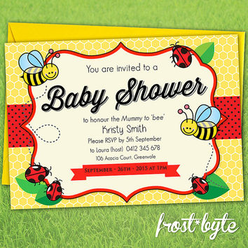 Bee Ladybug Baby Shower Invitation - unisex design - custom made digital file with your details - print yourself as you wish