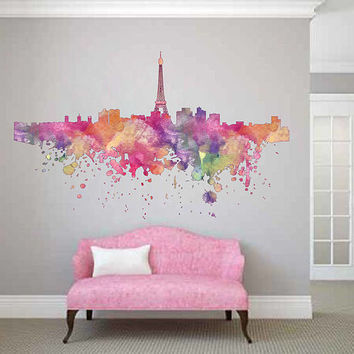 cik1853 Full Color Wall decal Watercolor France paris living room