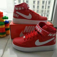 """""""Nike Air Force 1"""" Unisex Sport Casual Letter High Help Shoes Sneakers Couple Plate Sh"""