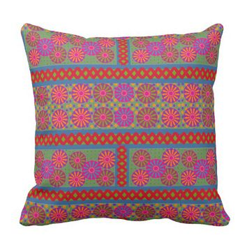 Floral Wheel Patch Work Throw Pillow