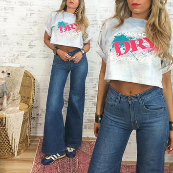 Vintage 80's MOLSON DRY Cropped Tie Dye T-Shirt || One Size