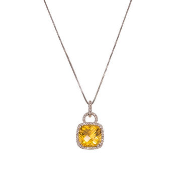 Citrine Cushion Pendant Necklace with Diamonds