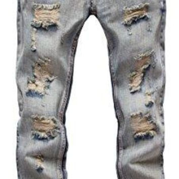 FEESON Men's Ripped Slim Fit Straight Denim Jeans Jogger Pants Vintage Style with Broken Holes