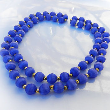 Vintage Cobalt Blue Color Satin Bead Necklace//Silk Thread Beaded Necklace 1960s Jewelry