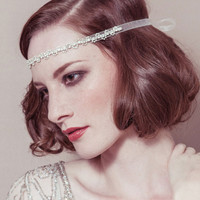 Greta - rhinestone diamante deco Gatsby 1920s bridal wedding forehead band