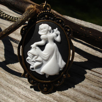 Halloween Cameo Necklace Victorian Snow White Disney Princess Dancing Dress