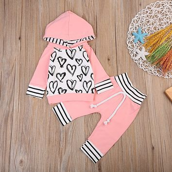 Toddler Kids Baby Girl Clothes 2017 Autumn Winter Heart Print Hooded Sweatshirt Tops+Pant Legging 2PCS Clothing Set 0-3Y