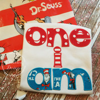 Cat in the Hat inspired One I Am Birthday Applique Shirt - Custom Tee Personalized