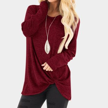 STYLEDOME Long Sleeve Flod Solid Casual Blouse Shirt Plus Size