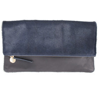 Two Tone Navy Haircalf Fold Over Clutch