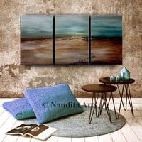 """Abstract Painting 72"""" Landscape Art Rustic Wall Art Framed Canvas Luxury Style Large Modern Wall Art, Contemporary Art Office Decor. Nandita"""