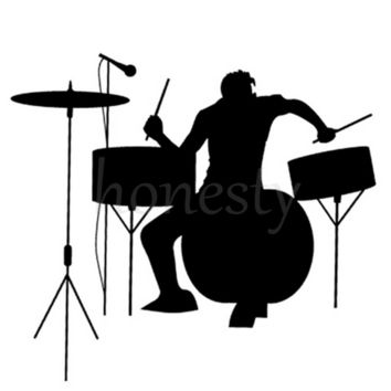 Drums Drummer Silhouette Rock Band Music Window Auto Laptop Wall Sticker Decor