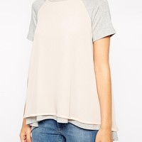 ASOS Top with Woven Layer and Short Sleeves at asos.com