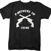 Unisex Best Friend Shirts Partners In Crime Gun Hipster T-Shirt Funny Shirts Couples Matching Tees For Besties BFF's