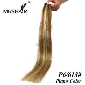 "MRSHAIR Mixed 6/613# Tape In Hair Extensions Skin weft Real Natural Human Hair On Double Sided Tape Seamless Hair 20pcs 16""-24"""