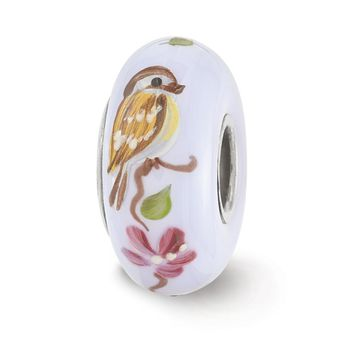 Fenton Hand Painted Sparrow Glass & Sterling Silver Charm