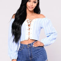 Quality Time Top - Blue/White