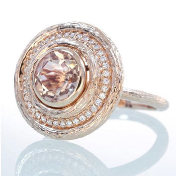 Rose Gold Morganite and Diamond Twig Wood Grain Design Engagement Wedding Right Hand Cocktail Anniversary Ring