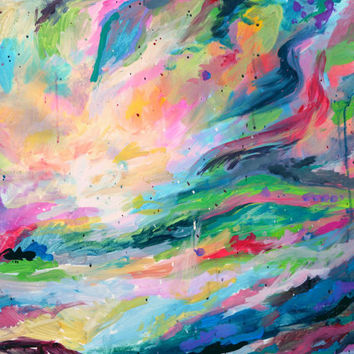 An Original Acrylics Colourful Dreamy Scenery Abstract Late Summer Painting on wood by Kelli Gedvil 2014 80 x 60 cm / 31,5 x 23,6 inches