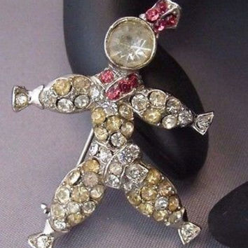 Vintage Pink & Clear Paste Rhinestone Rag Doll Brooch Girl Pin 1930's 40's