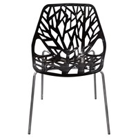 Pepper 4-Pack Accent Chairs in Black Laser Cut Polypropylene (PP) w/ Chrome Leg