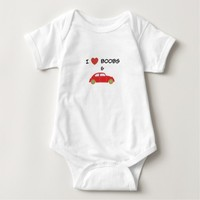 I Love Boobs and Car Funny Baby Bodysuit