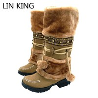 LIN KING Fashion Half Over Knee High Snow Boots Women Platforms shoes beaded Furry Warm Winter Boots free shipping size 35-40