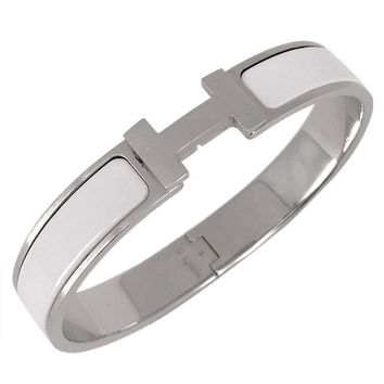 HERMES Auth Clic Clac H GM Bracelet Bangle White Free Shipping Excellent #1651