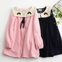 Cute Girls Doll Head Embroidery Loose Long Sleeve Winder Woolen Dress Lolita Loose Style Pink & Black