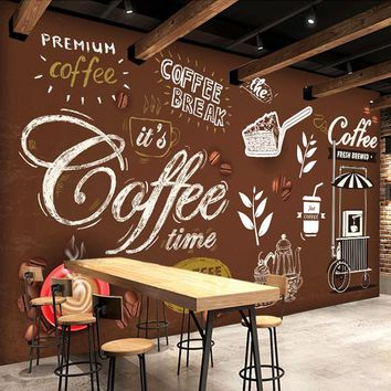 Custom Any Size European Style Retro Hand-painted Poster Mural Wallpaper Coffee Shop Restaurant Background Wall Painting Paper