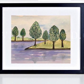 Landscape Watercolor Painting, Folk Art Painting, Nature artwork, whimsical watercolor, blue and green art, Original painting