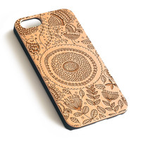 Floral Pattern Natural wood handmade precise laser engraved iPhone 7 6 6S Plus case WA009
