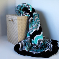 Crochet Afghan - Handmade Ripple Afghan - Black, Grey, and Turquoise Blanket