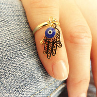 Hamsa knuckle ring, evil eye above the knuckle ring, arabic turkish jewelry, adjustable ring, best friend birthday gift, gifts for women
