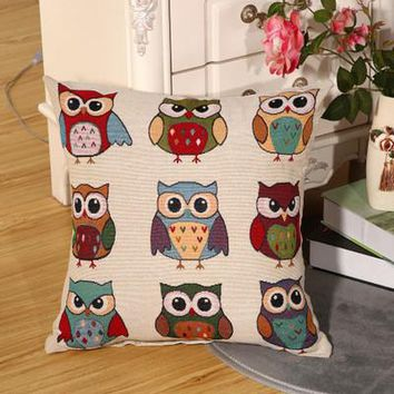 Cartoon Handmade Owl Home Decor Pillow Decorative Throw Pillows Cute Drawing 11