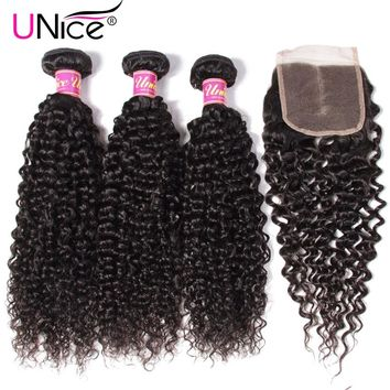 UNICE HAIR Malaysian Curly Hair Bundles with Closure 4PCS Swiss Lace Closure with Bundles Remy Human Hair 3 Bundles With Closure