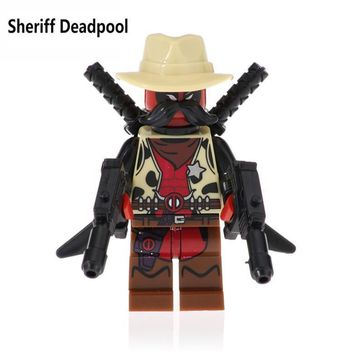 Deadpool Dead pool Taco For Legoing Marvel Figures Sheriff  2 Domino Cable Peter Armed Black Lightning Model Building Blocks Kids Toys Bricks AT_70_6