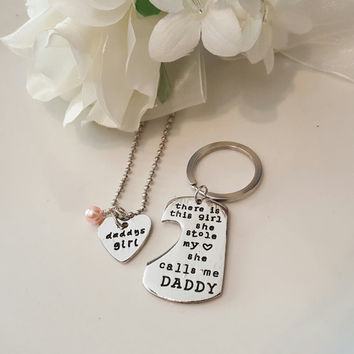 Father Daughter Keychain Necklace Set - There is this girl who stole my heart she calls me daddy - Daddy's Girl - Gift for Dad Father's Day