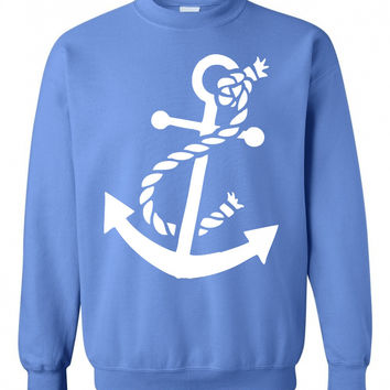 Ladies 'Nautical Anchor' Crew Neck Sweatshirt