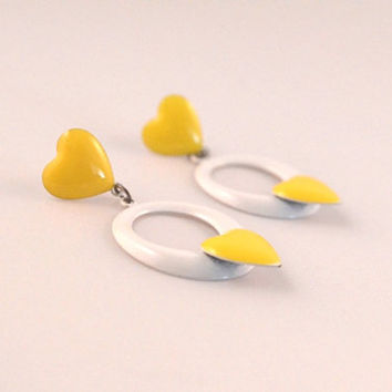 Vintage Yellow Enamel Heart Dangle Stud Earrings Over a White Circle, Vintage Fashion Jewelry For Women, Enamel Earrings For Pierced Ears