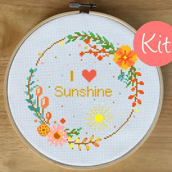 Flower Wreath Quote Cross Stitch Kit - I Love Sunshine